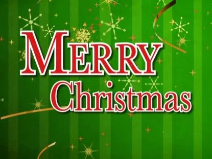 MERRY CHRISTMAS GREEN STRIPES