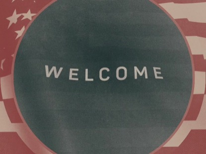 VINTAGE WAVING AMERICAN FLAG WELCOME