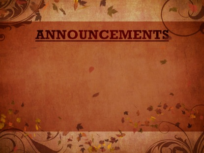 AUTUMN WIND ANNOUNCEMENTS