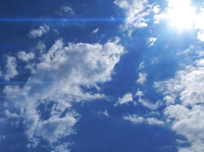 BLUE SKY SUN FLARE