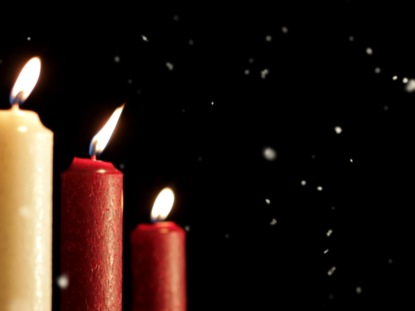 CHRISTMAS CANDLES SNOW