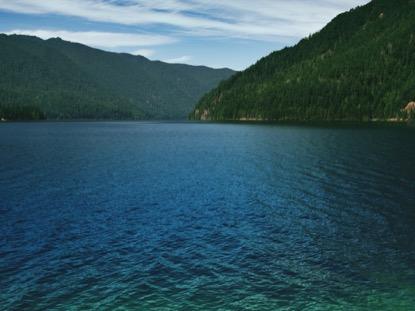 MOUNTAIN PINES VIBRANT LAKE