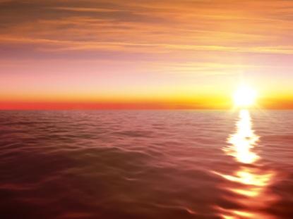 OCEAN WAVES HORIZON SUNSET