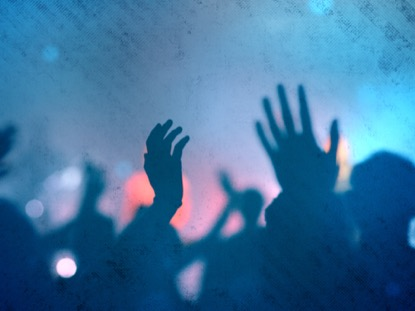 WORSHIP GROUP HANDS BLUE FILTERED