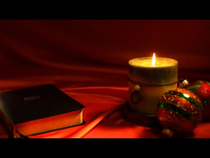 bible candle christmas ornaments on red - Candle Christmas Lights