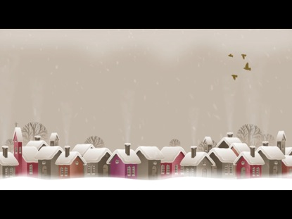 CHRISTMAS TOWN BACKGROUND WITH BIRDS