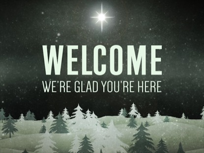 CHRISTMAS FOREST GREEN WELCOME MOTION