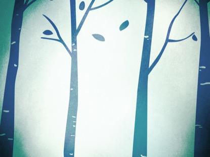 FALL BIRCH TREES BLUE 1 MOTION