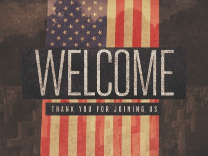 HANGING GRUNGE FLAG WELCOME
