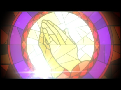 PRAYING HANDS IN STAINED GLASS