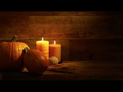 CANDLES AND PUMPKINS ON URBAN WOOD BACKGROUND VIDEO