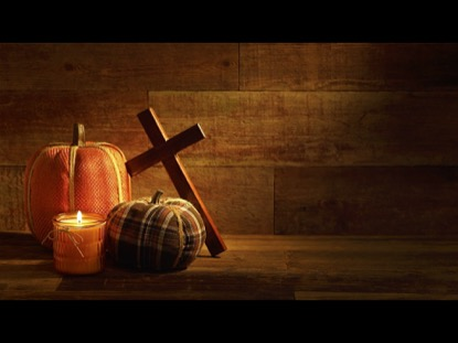 PLAID PUMPKINS AND CROSS ON URBAN WOOD BACKGROUND VIDEO