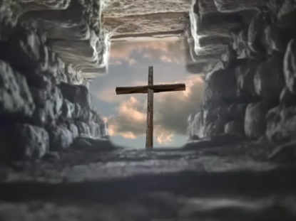 VIEW OF CROSS FROM CAVE