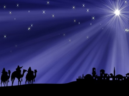 Christmas Star And Wisemen Background Vertical Hold