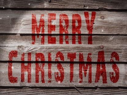 MERRY CHRISTMAS WEATHERED WOOD LOOP