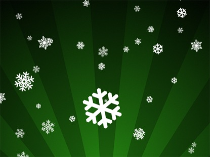 SNOWFLAKES ON GREEN RADIAL LOOP