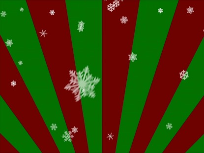 SNOWFLAKES ON RED AND GREEN RADIAL LOOP