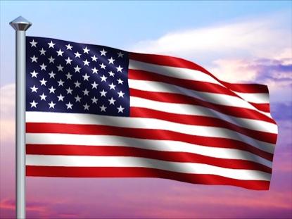 USA FLAG AND COLORFUL SKY