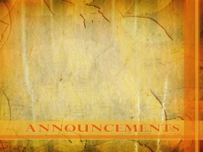 FALL 2 ANNOUNCEMENTS