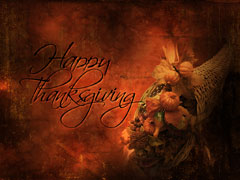 HORN O' PLENTY CORNUCOPIA TEXTURE: HAPPY THANKSGIVING