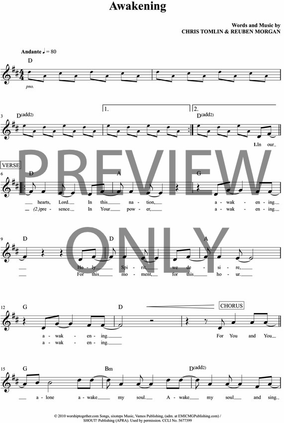 Awakening Lyrics and Chords | Worship Together