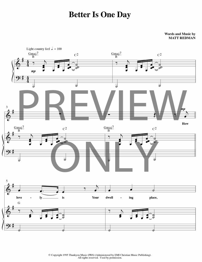 Better is one day lead sheet lyrics chords matt for Vocal house music charts