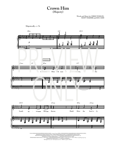 Crown him majesty lead sheet lyrics chords chris for Vocal house music charts