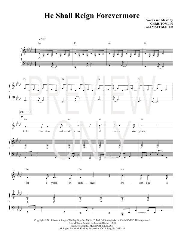 He Shall Reign Forevermore Lead Sheet, Lyrics, u0026 Chords : Chris Tomlin : Christian Song Tracks