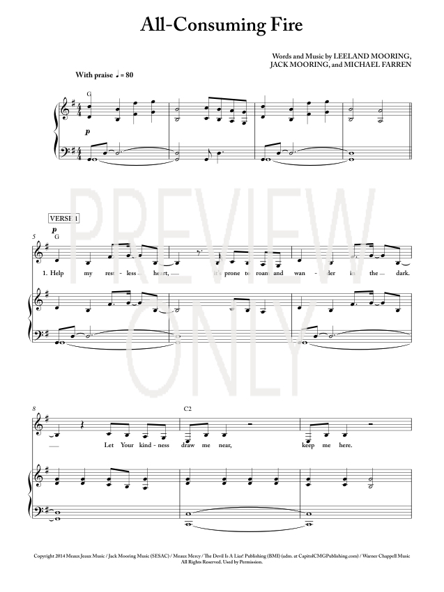 All consuming fire lead sheet lyrics chords leeland for Vocal house music charts