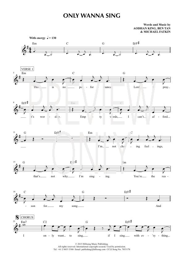 Only Wanna Sing Lead Sheet, Lyrics,