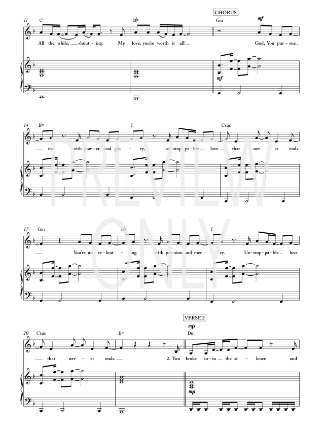 Unstoppable love lead sheet lyrics chords jesus for Vocal house music charts