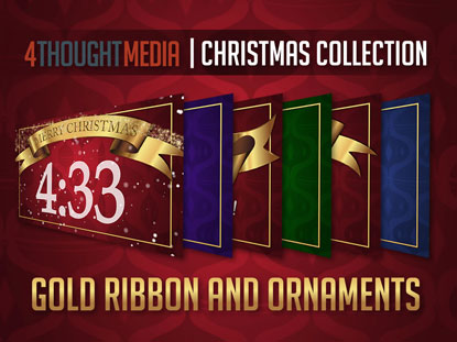 GOLD RIBBON AND ORNAMENTS - CHRISTMAS THEME PACK
