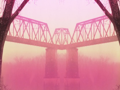 PINK BRIDGE WITH SNOW