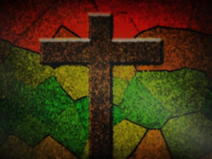 STAINED GLASS CROSS RED GREEN