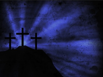 Three Cross Blue Silhouette | Benzalel | WorshipHouse Media