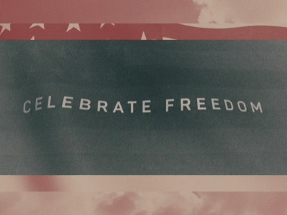 VINTAGE WAVING AMERICAN FLAG CELEBRATE FREEDOM
