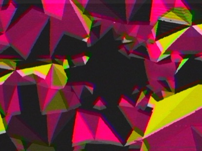 PINK YELLOW SPACE TRIANGLES RETRO