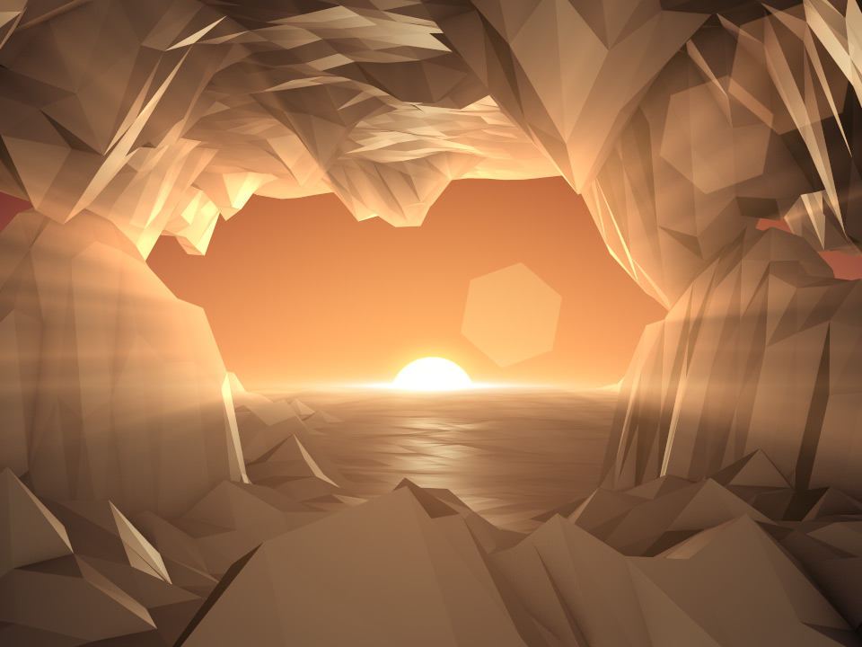 DIGITAL MOUNTAINS CAVE SUNRISE