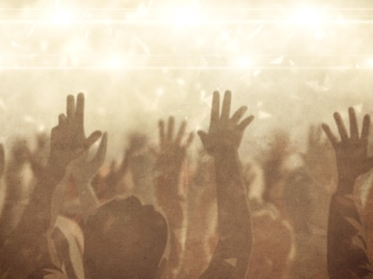 WORSHIP CROWD HANDS GOLD FAST