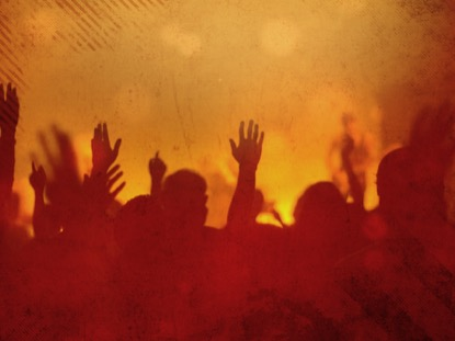 WORSHIP GROUP HANDS ORANGE FILTERED