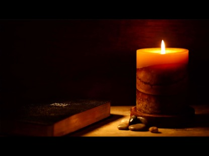 DARK BIBLE WITH CANDLE LIGHT