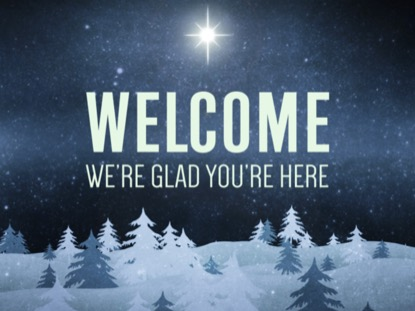 CHRISTMAS FOREST BLUE WELCOME MOTION