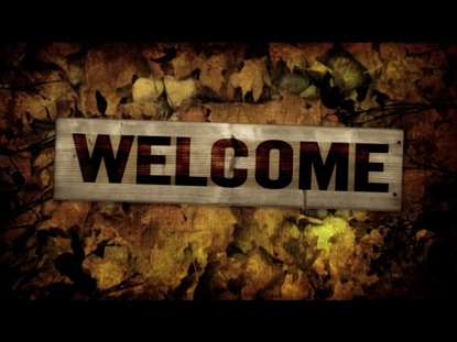 WELCOME BURLAP LEAVES