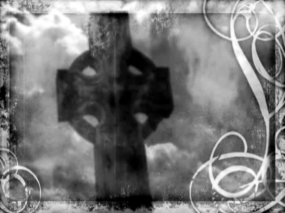 DISTRESSED CELTIC CROSS BLACK AND WHITE