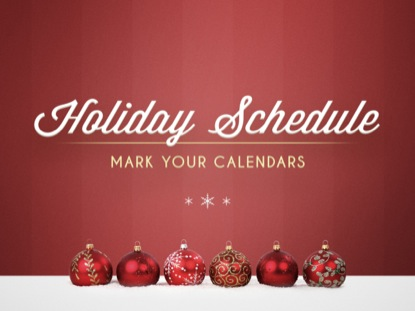 HOLIDAY ORNAMENTS SCHEDULE