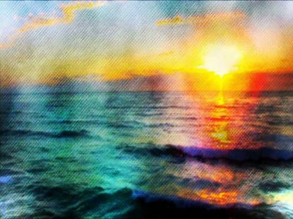 SUNSET WAVES DISTORTED