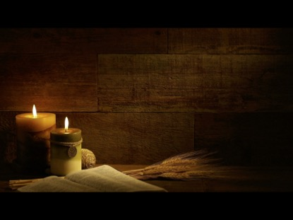 AUTUMN CANDLES WITH BIBLE ON RETRO WOOD BACKGROUND VIDEO