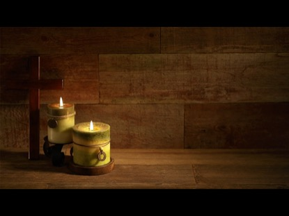 CROSS WITH CANDLES ON RETRO WOOD BACKGROUND VIDEO