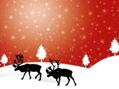 FALLING SNOW AND REINDEER