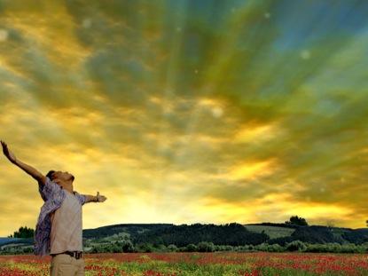 GLORIOUS SUNRISE AND MAN WORSHIPING 1
